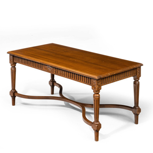 A Late 20th Century Coffee Table with a Linen Fold Border