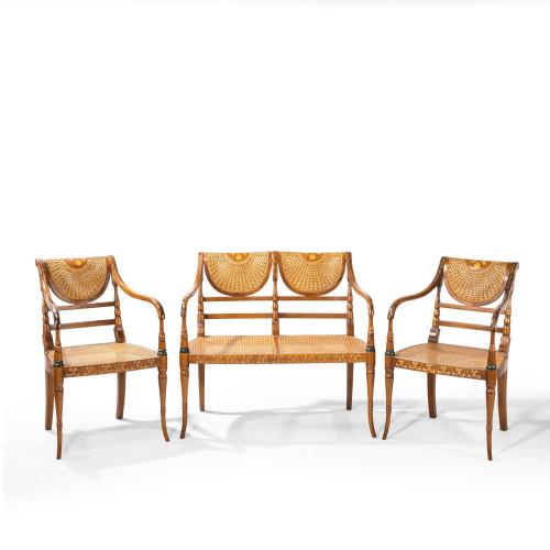 An Elegant Early 20th Century Satin Mahogany Salon Suite