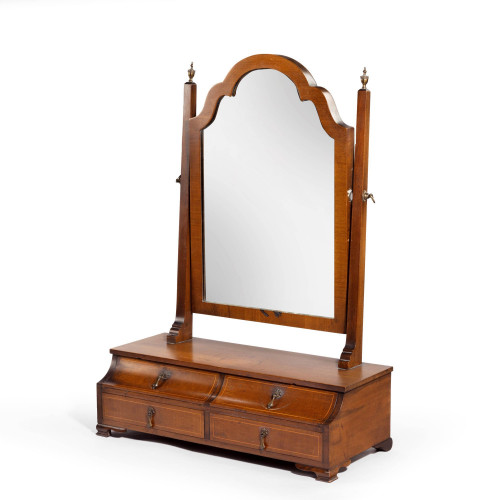 A Most Unusual Early 20th Century Mahogany Framed Mirror of Queen Anne Design