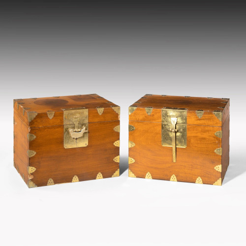 An Attractive Pair of Chinese Boxes in Oriental Hardwood