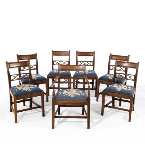 An Good Early 19th Century Set of Seven (6+1) Whitehaven Mahogany Framed Elbow Chairs