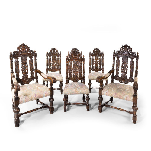 A Quite Exceptional Set of 6 (4+2) 17th Century Style Oak Chairs
