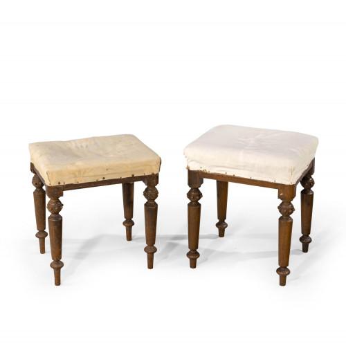 A Pair of Early Victorian Mahogany Framed Stools