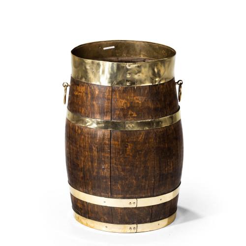 A Mid 19th Century Coopered Oak Barrel
