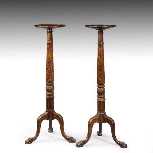 A Handsome Pair of Late 19th Century Mahogany Torcheres.