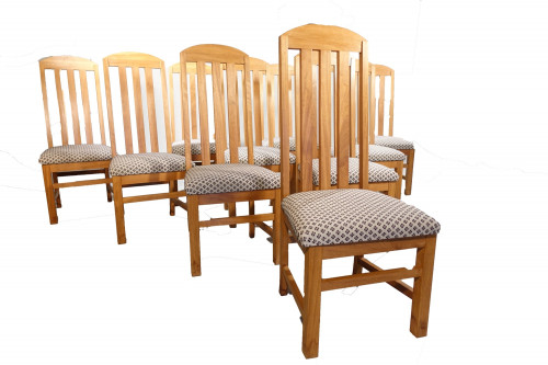 A Sturdy Set of 10 Late 20th Century Iroko Single High-Backed Chairs