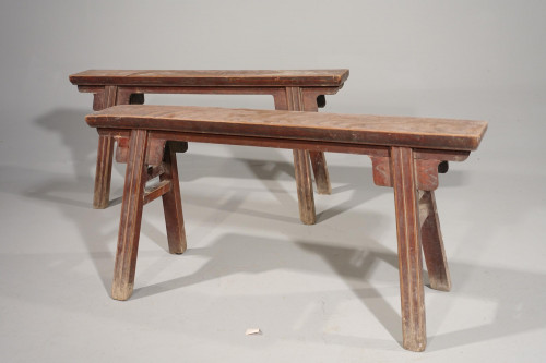 An Attractive Pair of Late 19th Century Elm Benches