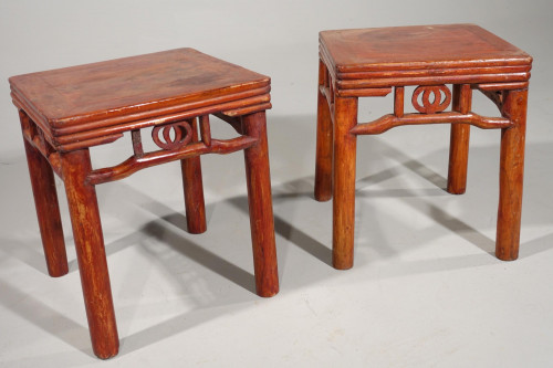 A Pair of Late 19th Century Oriental Stools or Tables