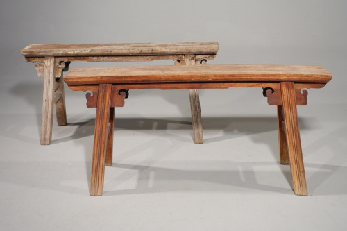A Pair of Late 19th Century Elm Slender Benches.