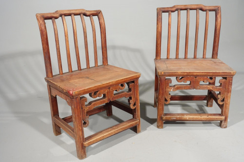 An Attractive Pair of Early 20th Century South Chinese Elm Chairs