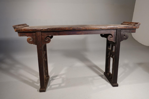 A well Shaped Late 19th Century Elm Artists Table of Slender Proportions.