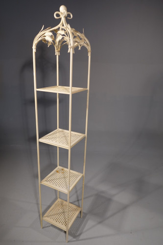An Early 20th Century Fired Metal Full Height Etagere