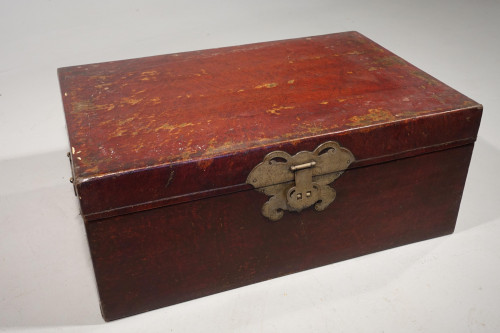 An Attractive Early 20th Century Red Leather Trunk