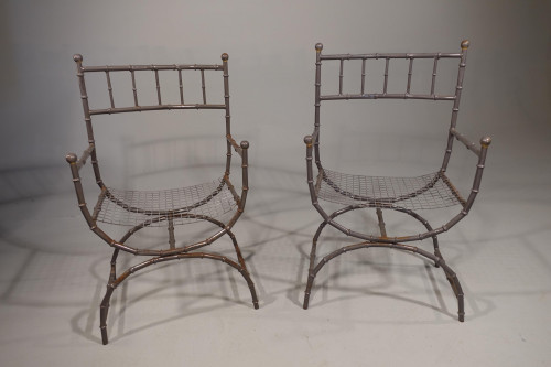 A Mid 20th Century Pair of Heat Fired Aluminium Chairs