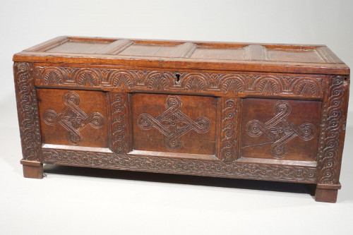 A Large and Well Carved 17th Century Four Panelled Coffer