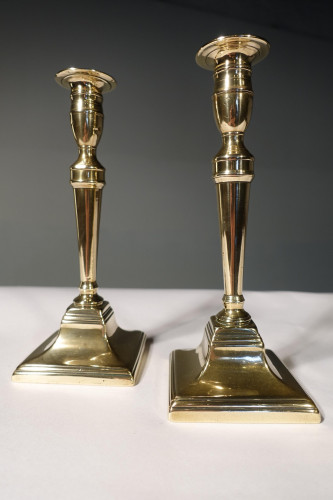 A Very Good Pair of George III Period Classical Brass Candlesticks