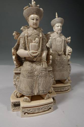 An Extremely Fine Pair of an Early 20th Ivory Emperor and Empress in Ceremonial Dress