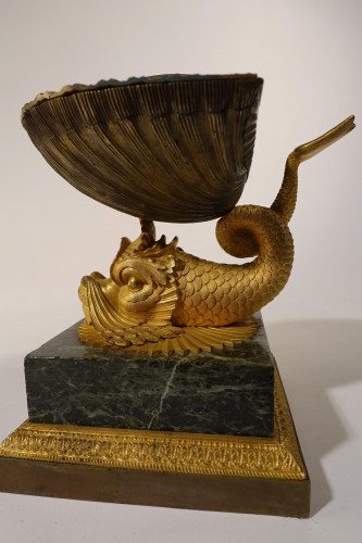 A Good Early 19th Century Gilt Bronze Lidded Shell Ornament