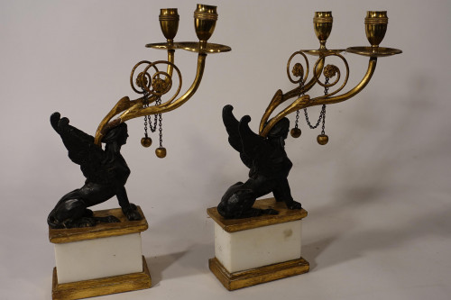 A Pair of Regency period Gilt Bronze and Marble Candelabra