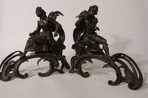 A Finely Modelled Pair of Late 19th Century Bronze Chenet