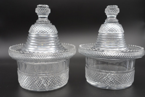 A Good Pair of George III Period Sweetmeat Jars and Covers
