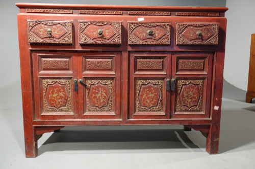 A Finely Carved Early 20th Century Oriental Sideboard
