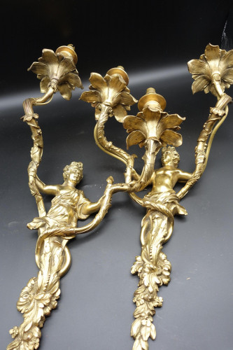 A Good Pair of Mid 19th Century French Ormolu Rococo Wall Lights
