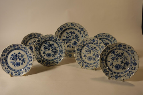 A Small Collection of Early 20th Century Meissen and Onion Pattern Plates