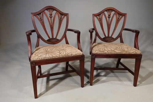 A Mid 20th Century Pair of Mahogany Framed Chairs of Hepplewhite Design