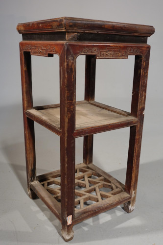 A Tall Early 20th Century Elm Lamp or End Table