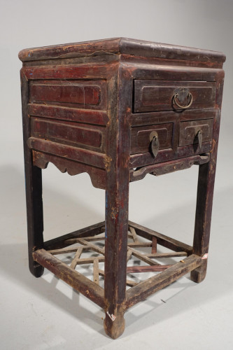 A Late 19th Century Chinese Elm Lamp or End Table