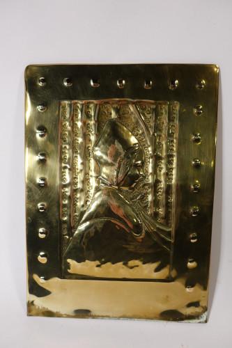 A 1920's Brass Repousse Plaque