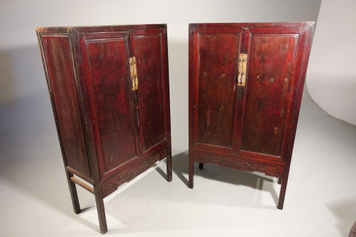 A Pair of Early 20th Century Chinese Elm Wedding Cabinets