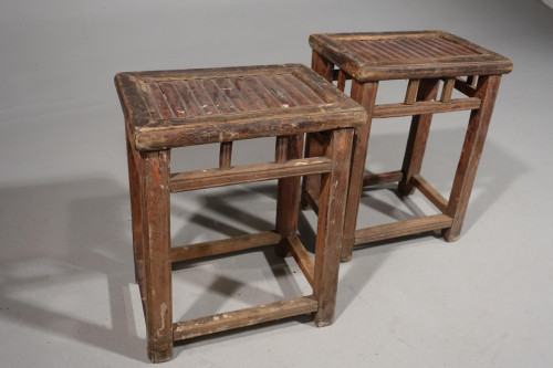 An Unusual Pair of Early 20th Century Chinese Low Tables or Stools
