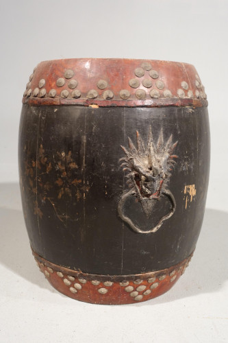An Early 20th Century Stained Elm Rice Barrel