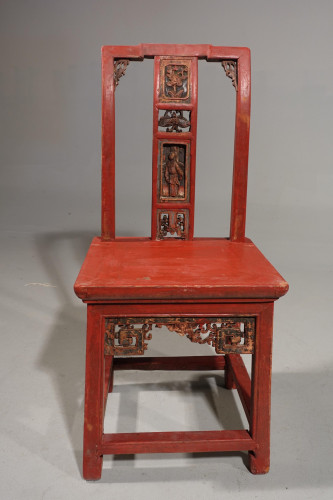 A Small Early 20th Century Red Lacquer Carved Side Chair