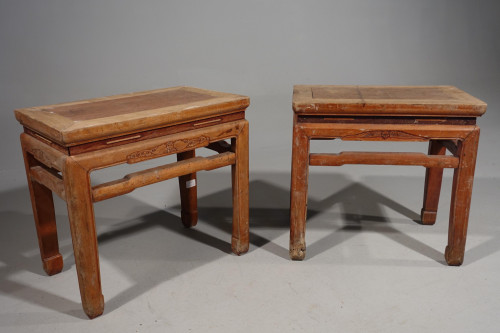 An Attractive Pair of Early 20th Century Elm Low Tables or Stools