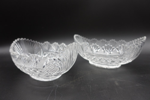 A Pair of Late 19th Century Boat Shaped Sweetmeat Jars