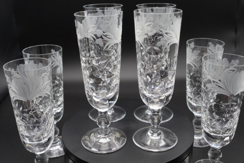 An Exceptional Set of  8 Royal Brierly Champagne Flutes