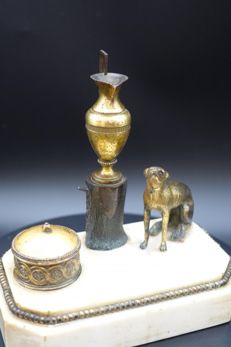 An Early 19th Century Bronze and Marble Inkwell by Thomas Weeks