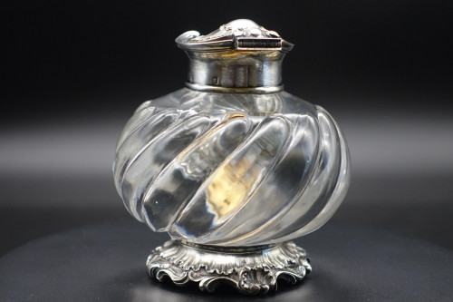 A Fine Quality Late 19th Century Silver Plate and Glass Inkwell