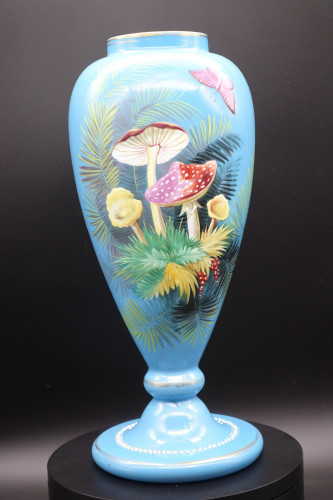 A Late 19th Century Opaque Blue Glass Flared Vase