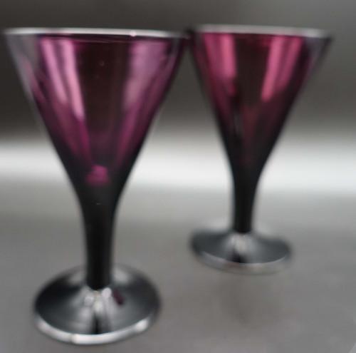 A Pair of George III Period Amethyst Wine Glasses
