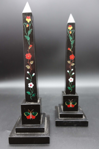A Late 19th Century Pair of Ashbourne Marble Obelisks