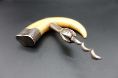 An Unusual Late 19th Century Silver Plated Tusk Corkscrew