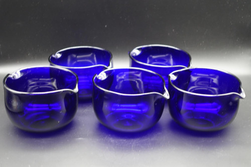 An Early 19th Century Set of 5 Bristol Blue Double Lipped Bowls