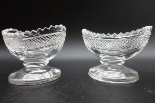 A Pretty Pair of Early 19th Century Boat Shaped Cut Glass Table Salts