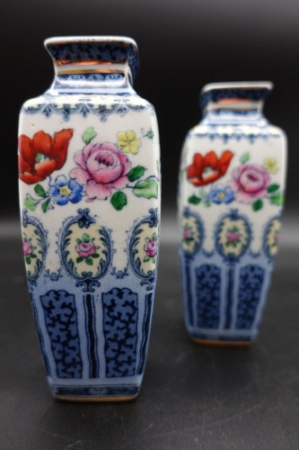 A Pair of Early 20th Century Losol Ware Miniature Square Section Vases