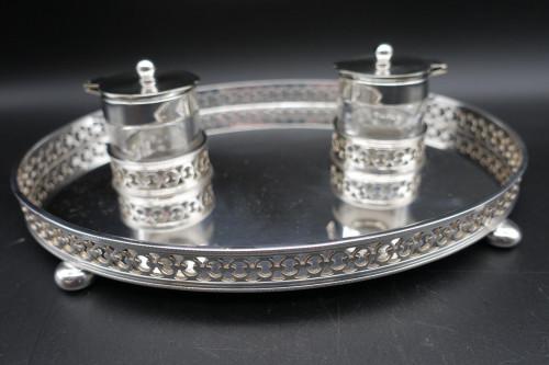 A Pretty Mid 20th Century Silver Plated Desk Set