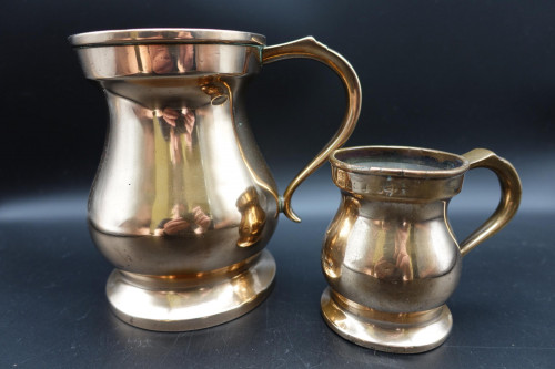 A Pair of Mid 19th Century Heavy Gauged Copper Tankards